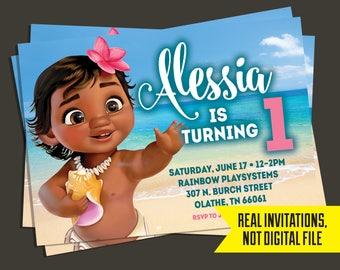 Baby Moana Invitation   Baby Moana Birthday Invitation
