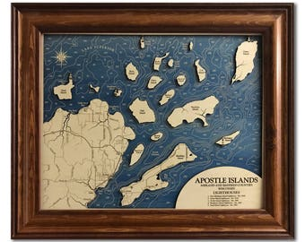Apostle Islands Dimensional Wood Carved Depth Contour Map - Customize With Your Home Information