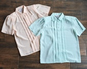 Vintage Short Sleeve Blouse | Teal & Blush Vintage Top | Pleated Button-down