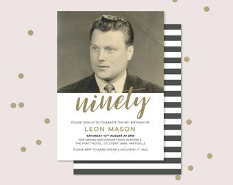 90th Birthday Invitation with photo - any age! Ninetieth birthday invitation for men, double sided invitation to print yourself. 70th, 80th