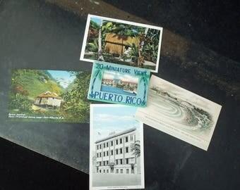 Postcards Puerto Rico Vintage - 20 Miniature & Four 5 1/4 x 3 1/4 - San Juan Escambron Beach Club 1930's Souvenir