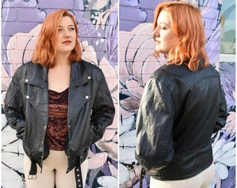 Vintage 80's biker leather jacket