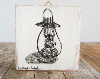 Kitchen Wall  Decor, Miniature Picture, Antique Lantern Print, Wood Sign, Rustic Oil Lamp, Hipster Wall Decor, Bohemian Art, Gift Under 15
