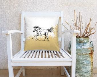 Horse Decorative Pillow, Horse Square Pillow, Farmhouse Decor, Throw Pillow, Nature Art Pillow, Square Cushion, Living Room Decor