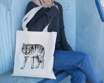 Shoulder Tote Bag, Wolf Tote Bag, Library Bag, Tote Bag Canvas, Beach Bag, Tote Bag For Man, Bags And Totes, Grocery Bag, Cotton Bag Canvas