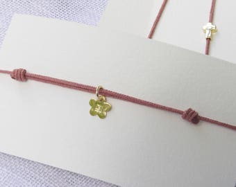 "Old cord bracelet pink or ""heart of Fig"" and small Daisy plated gold"