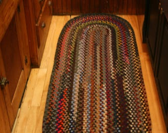 Hand Braided Wool Oval Runner