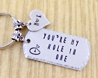 Couples Golf Keychain -|- Golf Gifts For Men Husband or Boyfriend -|- You're My Hole In One -|- Sweet Ride Accessories 5 Star Seller Shop