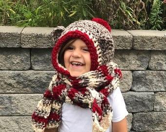 Sock monkey hood, Sock monkey hat, animal hat, crochet hooded scarf, Sock monkey, animal hooded scarf, Scarf with hood, Sock monkey scarf