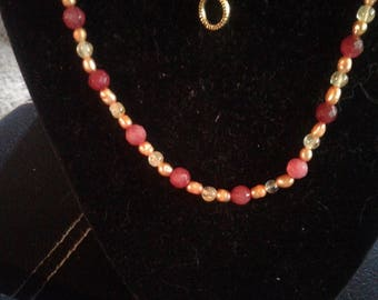 Ruby, Citrine and Orange Natural Pearl Beaded Necklace and Bracelet Set, #568