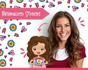 80+ Planner Stickers that Look Like YOU! Hello Spring Pack! For a Girl with a Medium Toned Skin, Long Hair. Choose hair and eyes color/type!