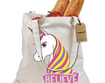 Unicorn Believe Ugly Christmas Shopping Tote Bag