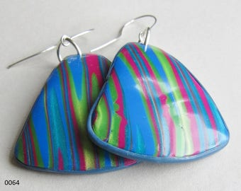 Blue, pink and yellow striped polymer clay earrings (#0064 and #0066)