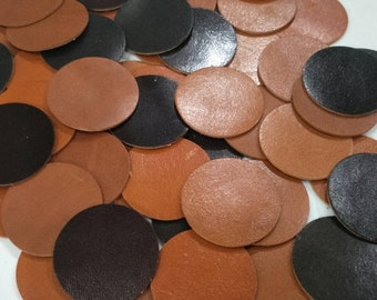 Leather Circles, Brown Tone, 7 Sizes 10mm. 15mm. 20mm. 25mm. 30mm. 35mm., Circles Die Cut, Circles Decoration, DIY Projects.