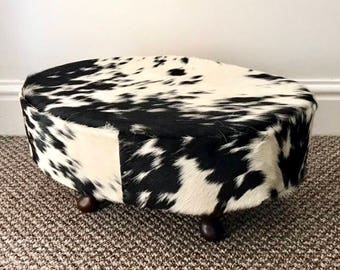 Small cowhide footstool, upholstered stool, hair on hide, home and living, home accessories