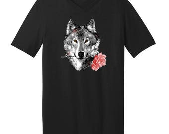 Wolf With Carnation - Men's V-neck