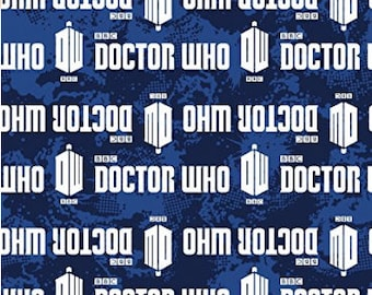 Doctor Who Fabric, Logo Stripe Fabric from Springs Creative Licensed - Listed by the Half Yard, Dr. Who