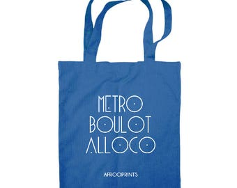 "AFROOPRINTS | Tote Bag ""Attieke is Bae"" - Bleu Ciel"