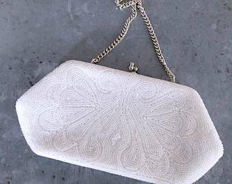 Hand beaded art deco purse, vintage bridal purse, vintage wedding purse, evening bag, cream, ivory, vintage beaded purse, vintage bridal