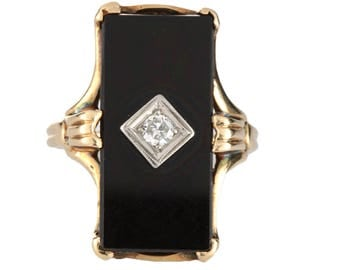 Diamond ring Vintage | black onyx | Art Deco period | 10 kt rose / yellow gold | 2.7 mm swis cut diamond | H VS2  | stacking ring | 1930
