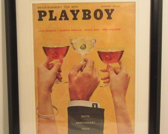 Vintage Playboy Magazine Cover Matted Framed : December 1959 -