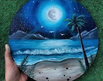 Summer Vacation Acrylic on Wooden Circle
