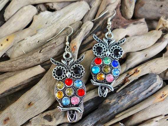 Wise Owl Rhinestone Silver Earrings Rhinestones Crystals Gems Bling Earring Drops Drop Pagan Wiccan Wicca Witch Harry Potter Magic Athena