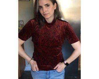 Vintage 90s mock neck shirt, burgundy shirt, velvet, snake print