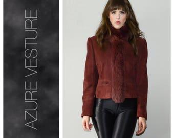 80s Suede and Fur Jacket. Burgundy Real Fur Trim Blazer, Vintage Fur, Unique 1980s Glam Minimalist Chic Medium