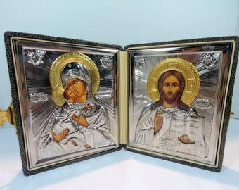 1950s Russian traveling religious icons traveling Russian icon of mother Mary and Jesus Russian traveling icons in case