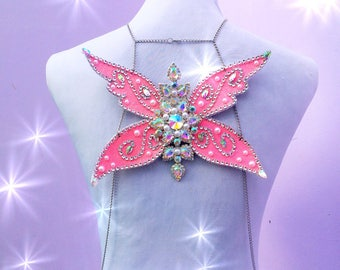 Baby pink glitter glass rhinestone silver body chain adult fairy wings rave fairy festival wedding wings halloween costume