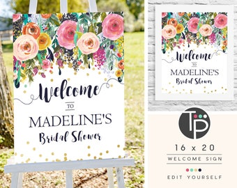 Bridal Shower Welcome Sign, Instant DOWNLOAD Welcome Sign, Editable Welcome Sign, 16 x 20 Welcome Sign, Floral Baby Shower, Printable, 0508