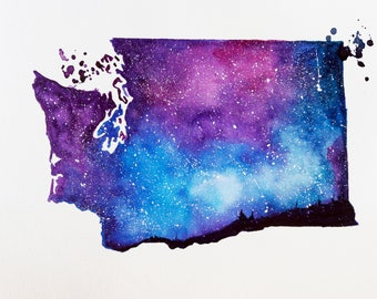 Washington Map, State map Print, Map art, Watercolor Painting, Galaxy art, State Print, Map gifts, Home Decor, Holiday Gift, Double exposure