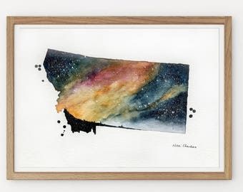 Montana State Map, Original Watercolor Painting, Illustration Print, Galaxy, US Travel, Modern art Home Decor, Holiday Gift Double exposure