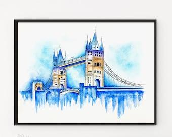 London bridge, London Print, Watercolor Painting, Travel poster, Watercolor Print, London poster, Modern Wall art, City art, Cityscape,