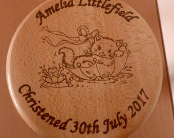 Personalised Hardwood Child's Wooden Stool / Cat