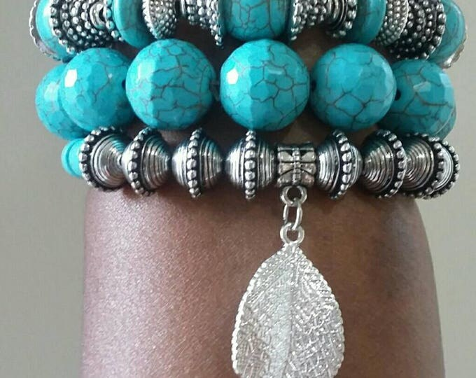 Turquoise shell and metal ladies boho chic beaded bracelet, gifts for her, gifts under 40, anniversary gifts, birthday gifts