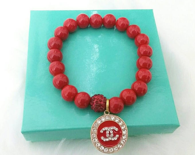 Designer Inspired Red Beaded Ladies Bracelet, stocking stuffers, gifts under 50, anniversary gift's, birthday gifts