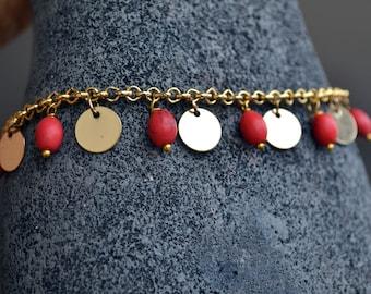 Anklet, chain anklet, charms anklet, red anklet, gold anklet, gemstone Anklet, simple anklet, chain anklet, charms anklet (Ank10)