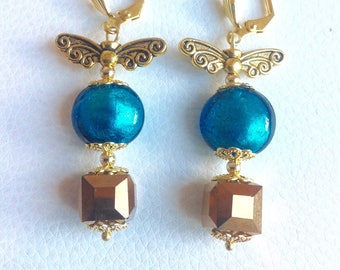 Earrings turquoise blue and gold