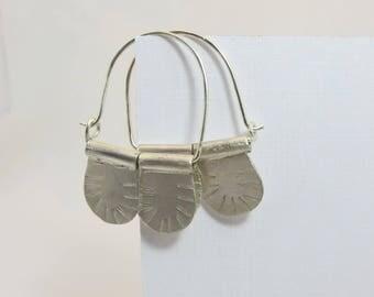 Hammered Sterling Silver Hoop Earrings, oriental
