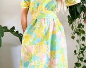 Vintage 60's Lilly Pullitzer Style Dress Beach Dress Palm Beach Shift Dress 60s Tropical Dress