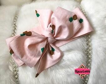 Pineapple Polka Dot Headwrap, Fabric Headwrap, Baby Headwrap, Toddler Headwrap, Bow Headwrap, pineapple headwrap, Newborn Headwrap