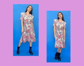 Vintage 70s 80s Pink Floral Lace Dress