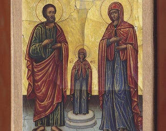 Saint Anne and Joachim.Christian orthodox icon. FREE SHIPPING