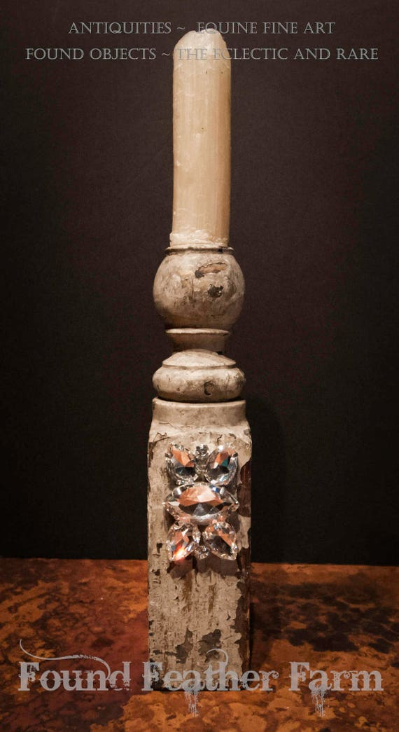 Handmade Antique Balustrade Candlestick with Rock Crystal Jewel Embellishments and a Natural Beeswax Candle