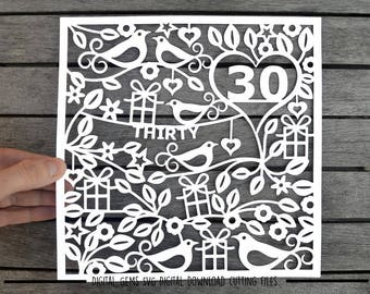 Number 30 paper cut svg / dxf / eps / files and pdf / png printable templates for hand cutting. Digital download. Small commercial use ok.