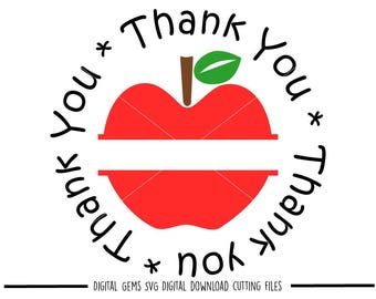 Thank you teacher svg / dxf / eps / png files. Digital download. Compatible with Cricut and Silhouette machines. Small commercial use ok