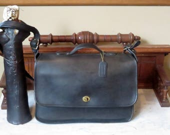 Coach Letter Brief In Black Leather Style No 5270- Made In United States- EUC