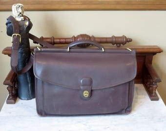 Spring Sale Coach Beekman Briefcase In Mahogany Leather With Brass Hardware- Style No. 5266 - Made In United States- VGC